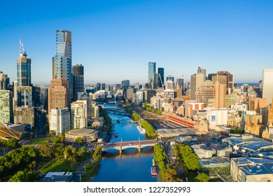 Melbourne, Australia - Nov 10, 2018: Aerial view of Melbourne CBD in the morning. It has been ranked as one of the most liveable cities in the world.