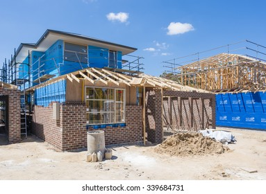 Melbourne, Australia - Nov 15, 2015: Houses under construction in a suburb in Melbourne, Australia