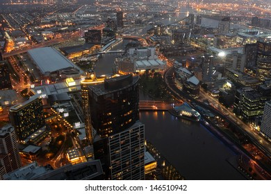 MELBOURNE, AUSTRALIA -NOV 22: Melbourne CBD night panorama from Eureka Skydeck 88 on November 22, 2011, Melbourne, Australia. Eureka Skydeck is the highest point of the city and offer nice night view.