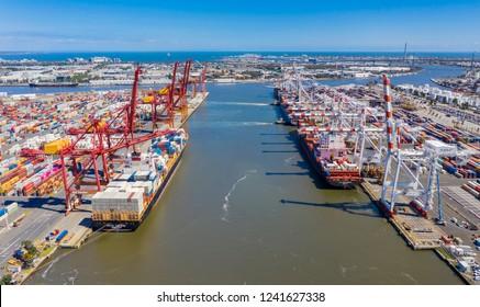 Melbourne, Australia - Nov 25, 2018: Aerial photo of the Port of Melbourne container terminal. It is Australia's busiest cargo port