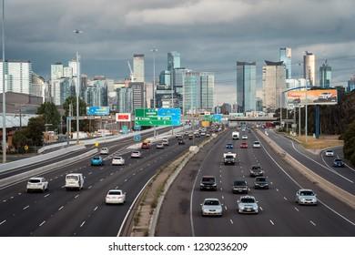 Melbourne, Australia - Nov 6, 2018: View over West Gate Freeway towards the city centre
