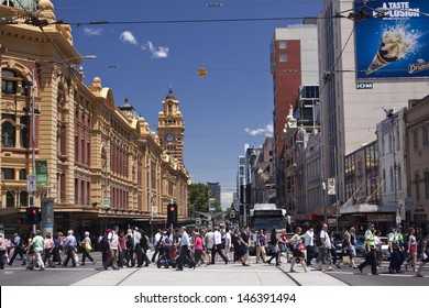 MELBOURNE, AUSTRALIA - NOV10: Iconic Flinders Street Station was completed in 1910 and is used by over 100,000 people each day - 10 November 2011, Melbourne Australia,