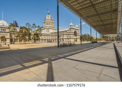 MELBOURNE, AUSTRALIA - NOVEMBER 03, 2016 : The Royal Exhibition Building from the  Melbourne Museum, located in Carlton Gardens in central Melbourne, Victoria, Australia.