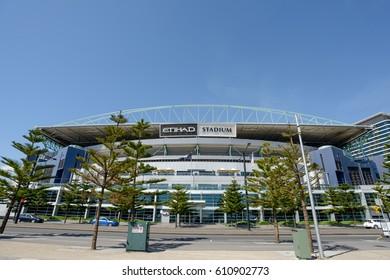 MELBOURNE, AUSTRALIA - NOVEMBER 03, 2016: Etihad Stadium at at Victoria Harbour Promenade Melbourne.