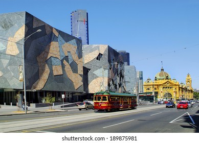 MELBOURNE, AUSTRALIA - NOVEMBER 09: Buildings on Federation square with Flinders Street Station, Australian Centre of Moving Image and City Circle tram, on November 09, 2006 in Melbourne, Australia