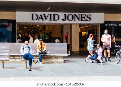 Melbourne, Australia - November 1, 2020: Cafes and retail shops reopen and crowds flock to Melbourne city. Bourke St Mall is crowded and joyous at the first day of shopping in nearly 3 months.
