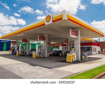 Melbourne, Australia - November 15, 2015: Royal Dutch Shell sold its Australian Shell retail operations to Dutch company Vitol in 2014, retaining Shell branding such as here in Wheelers Hill.