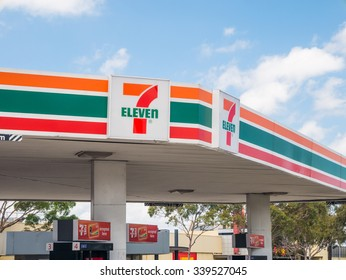 Melbourne, Australia - November 15, 2015: in 2010 7-Eleven purchased Mobil's petrol station business throughout Australia, operating them with its convenience store business.