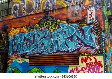 MELBOURNE, AUSTRALIA - November 16, 2014: Rutledge Lane, off Hosier Lane, is a well known location for street art in inner city Melbourne.