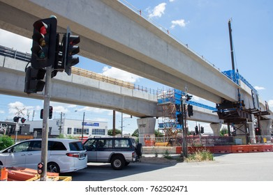 Melbourne, Australia - November 19, 2017: construction of the skyrail Metro train grade separation project at the Clayton Road level crossing in Clayton.