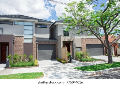 Melbourne, Australia - November 19, 2017: modern townhouse in Clayton in the eastern suburbs of Melbourne. Clayton is in the City of Monash municipal area.