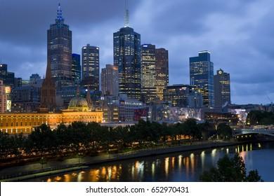 Melbourne, Australia - November, 2008: Victoria, Melbourne, buildings on bank of Yarra river