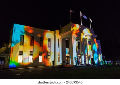 MELBOURNE, AUSTRALIA - November 28, 2014: images projected onto the facade of Box Hill Town Hall for Illuminate, a festival to commemorate the 20th anniversary of the City of Whitehorse.