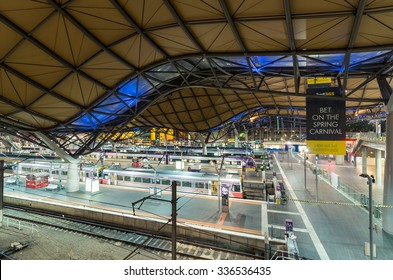 Melbourne, Australia - November 3, 2015: Southern Cross railway station with its distinctive wave or dimple roof was finished in 2007. It services suburban, regional and interstate trains.