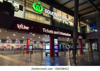 Melbourne, Australia - November 3, 2015: ticket office and Woolworths supermarket at Southern Cross railway station in central Melbourne.