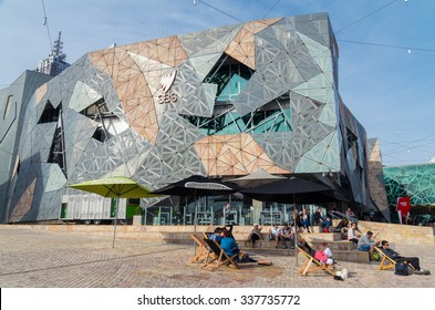 Melbourne, Australia - November 3, 2015: SBS television offices at Federation Square in Melbourne. The Special Broadcasting Service provides multilingual radio and television services in Australia.