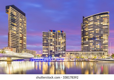 Melbourne, Australia - November 3, 2015: View of modern residential buildings, and marina with reflection in Docklands, Melbourne at twilight.