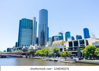 Melbourne, Australia - November 30, 2018: View of the Crown Casino and Entertainment Complex located on the Southbank of the Yarra River in Melbourne during daytime.