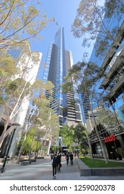 MELBOURNE AUSTRALIA - NOVEMBER 30, 2018: Unidentified people visit Eureka Tower in Melbourne Australia