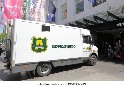 MELBOURNE AUSTRALIA - NOVEMBER 30, 2018: Armaguard truck in Melbourne Australia. Armaguard is used in transporting valuables, large quantities of money.