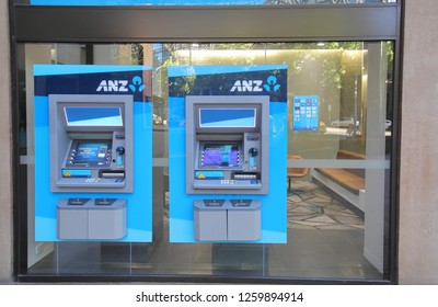 MELBOURNE AUSTRALIA - NOVEMBER 30, 2018: Australia and New Zealand Bank ANZ cash dispenser. ANZ is one of the four largest bank in Australia and the largest in New Zealand.