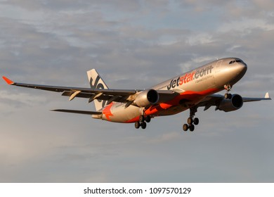Melbourne, Australia - November 8, 2014: Jetstar Airways Airbus A330-202 airliner VH-EBE on approach to land at Melbourne International Airport.