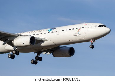 Melbourne, Australia - November 8, 2014: Garuda Indonesia Airbus A330-341 airliner PK-GPA on approach to land at Melbourne International Airport.