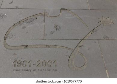 Melbourne, Australia - Novembre 2012 - Inscription of Centenary of Federation, in Federation square, Melbourne, Australia