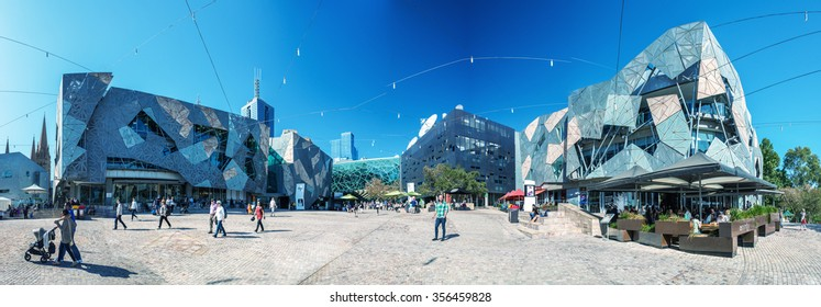 MELBOURNE, AUSTRALIA - OCT 19: Panoramic view of Federation Square on October 19, 2015 in Melbourne. It is a mixed-use development in the inner city of Melbourne, covering an area of 3.2 hectares.