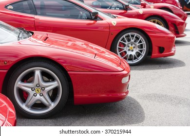 Melbourne, Australia - Oct 23, 2015: Row of red Ferrari on public display in a car show in Melbourne