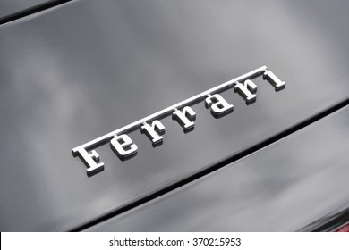 Melbourne, Australia - Oct 23, 2015: Close-up view of the logo of a Ferrari on public display in a car show