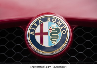 Melbourne, Australia - Oct 23, 2015: Close-up view of the logo of an Alfa Romeo on public display in a car show