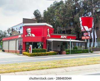 Melbourne, Australia - October 10, 2014: KFC restaurant in the eastern suburb of Box Hill.  KFC is a multinational chain of chicken restaurants, originating in the USA.