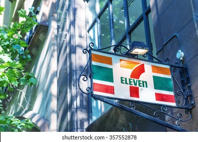 MELBOURNE AUSTRALIA - OCTOBER 17, 2015: 7-Eleven logo. 7-Eleven is the world's largest operator, franchiser, and licensor of convenience stores with more than 50,000 outlets.