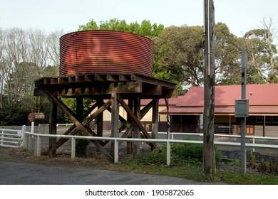 Melbourne, Australia - October 22, 2020:  The Puffing Billy tourist steam train terminus station in Gembrook, rural Victoria, Australia.