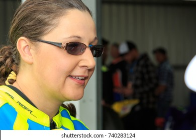 MELBOURNE, AUSTRALIA â?? OCTOBER 22:  Tracy Davies out in the paddock during qualifying for 2017 Michelin Australian Motorcycle Grand Prix.