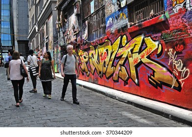 MELBOURNE, AUSTRALIA - OCTOBER 25, 2015: Hosier lane street art is one of the major tourists attraction in Melbourne. Hosier lane is famous for its street graffiti arts made by local artists.