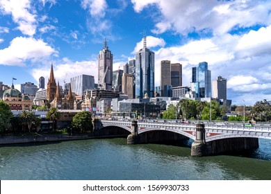 Melbourne / Australia - October 25 2019 : Melbourne city business district (CBD), Yarra River, Princess Bridge, Australia