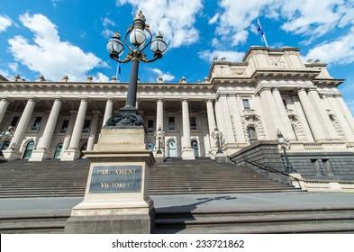 MELBOURNE, AUSTRALIA - October 26, 2014: Parliament House, Melbourne has been the seat of the Parliament of Victoria since 1855.