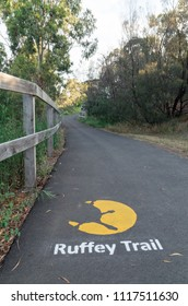 Melbourne, Australia - October 31, 2015: Ruffey Trail is a walking and cycling trail running through Ruffey Lake Park in Templestowe in suburban Melbourne.