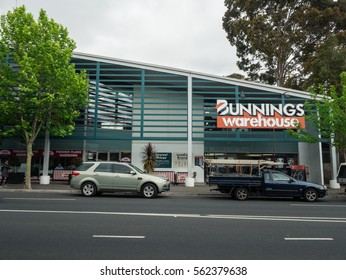 Melbourne, Australia - October 31, 2016: Bunnings is a chain of retail and trade hardware and building supply stores owned by Wesfarmers. This store is on Burwood Road in Hawthorn.