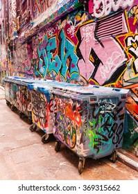 MELBOURNE, AUSTRALIA - OCTOBER 9, 2015: Hosier lane the street art of Melbourne, Victoria, Australia