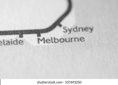 Melbourne, Australia on a geographical map.