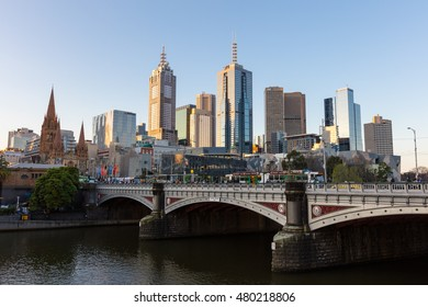 Melbourne, Australia - Sept 7, 2016: Melbourne's skyline along the Yarra River at sunset towards Federation Square