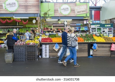 Melbourne, Australia - September 12, 2015: People doing grocery shopping in a market in Melbourne during daytime.