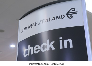 MELBOURNE AUSTRALIA - SEPTEMBER 13, 2014: Air New Zealand check in counter at Melbourne Airport - Air New Zealand is the national airline and flag carrier of New Zealand.