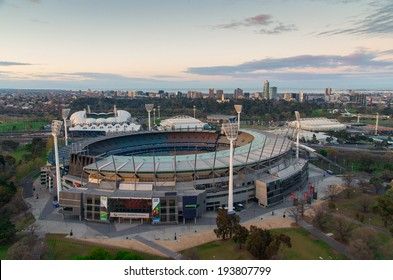MELBOURNE, AUSTRALIA - September 15, 2013: aerial view of the Melbourne Cricket Ground (MCG for short), home of the 1956 Olympic Games and regular Australian Rules Football and cricket matches.