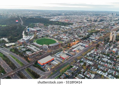 Melbourne, Australia - September 15, 2013: Victoria Park football oval, home of the Collingwood Magpies AFL cub, with Punt Road and the Eastern Freeway in the foreground.