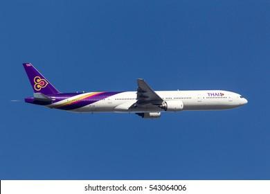 Melbourne, Australia - September 20, 2011: Thai Airways International Boeing 777-3D7 HS-TKA departing Melbourne International Airport.