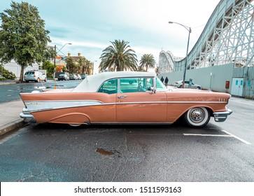 Melbourne Australia - September 2019: Side view of a Chevrolet Bel Air classic car at St Kilda car show.